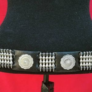 Accessories - Black leather concho belt